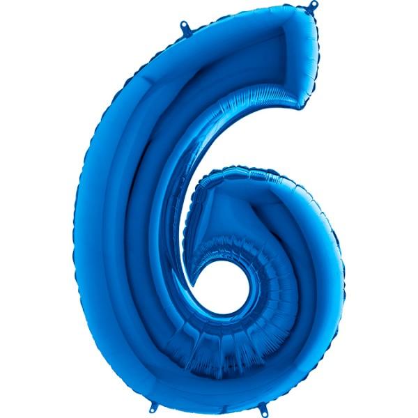 "Grabo Folienballon Zahl 6 Blue 100cm/40"""