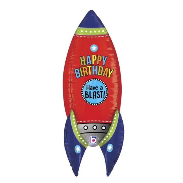 """Betallic Folienballon Blasting Birthday Rocket 90cm/36"""""""