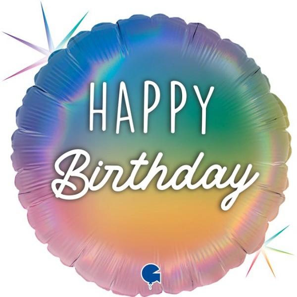 "Grabo Folienballon 46cm/18"" Happy Birthday Regenbogen Holographic"