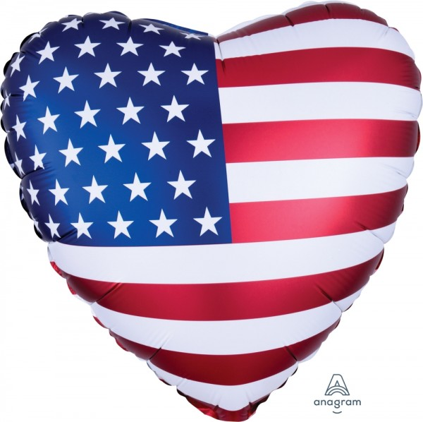 Anagram Folienballon Herz Satin USA Flag 45cm/18""