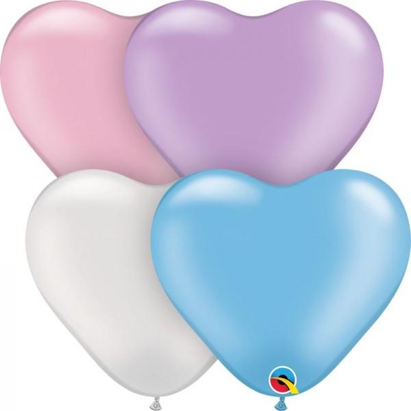 "Qualatex Latexballon Pearl Heart Assortment 15cm/6"" 100 Stück"