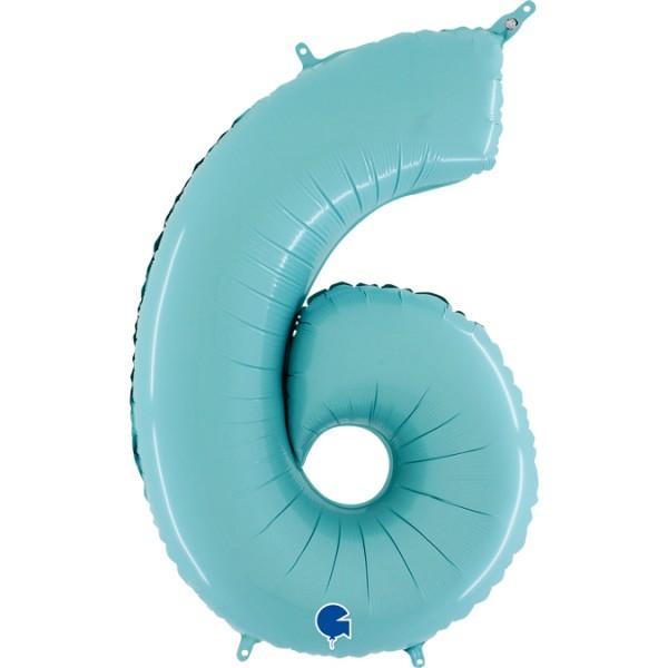 "Grabo Folienballon Zahl 6 Pastel Blue 66cm/26"""