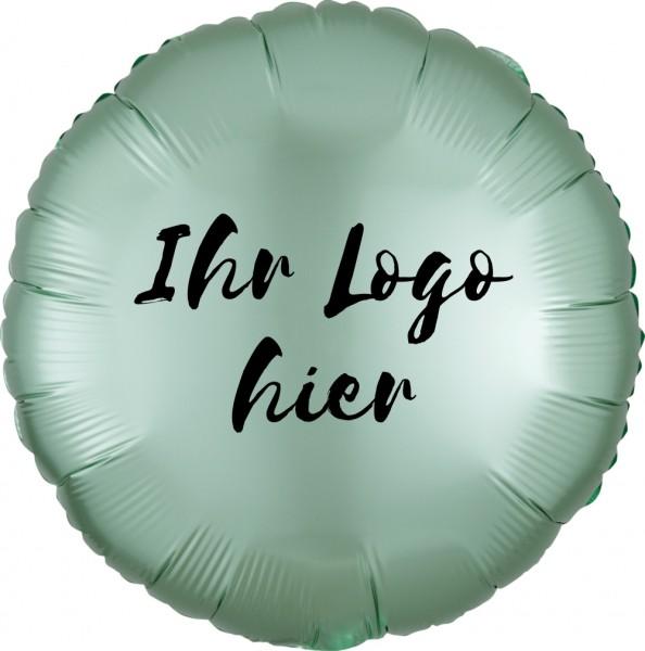 """Folien-Werbeballon Rund Satin Luxe Mint Green45cm/18"""" 1-Seitig bedruckt"""