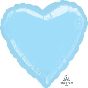 Anagram Folienballon Herz 45cm Durchmesser irisierend Pearl Hellblau (Iridescent Pearl Lite Blue)