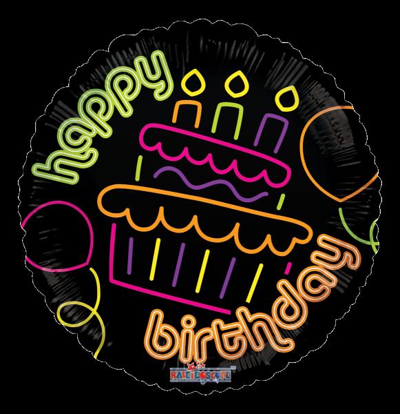"""Kaleidoscope Folienballon """"Happy Birthday - Neon Torte"""", 18"""""""