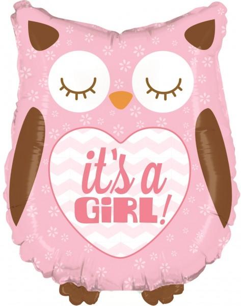 "Betallic Folienballon Baby Girl Owl Mini 35cm/14"""