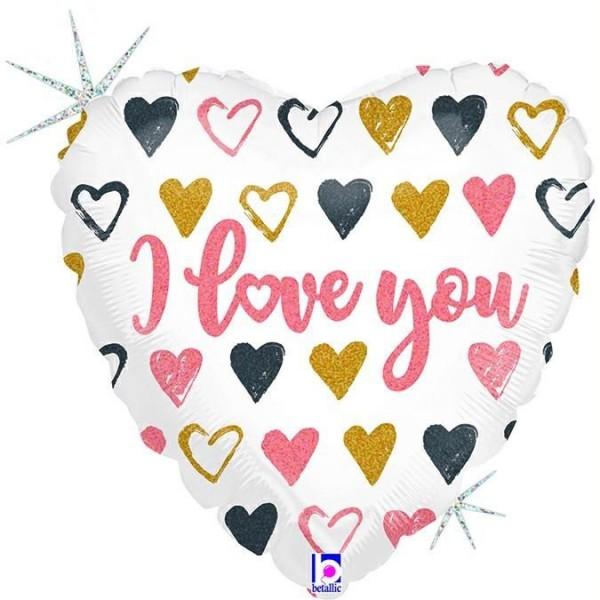 "Betallic Folienballon Rose Gold Heart I Love You Glitter Holographic 23cm/9"""