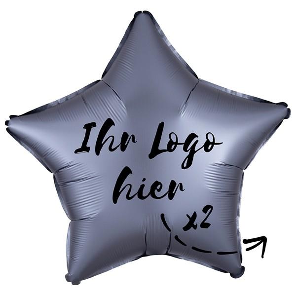 """Folien-Werbeballon Stern Satin Luxe Graphite 50cm/20"""" 2-Seitig bedruckt"""