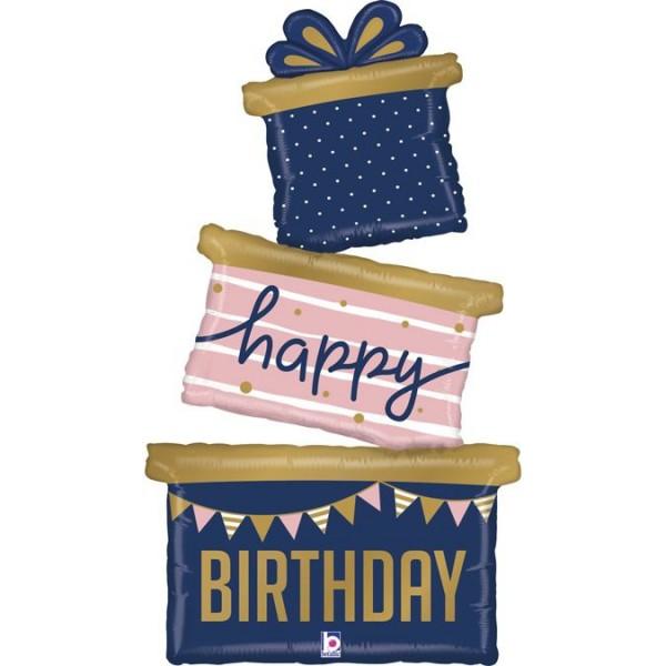 "Betallic Folienballon Happy Birthday Gift Trio 130cm/51"""