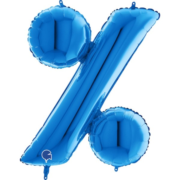 """Grabo Folienballon Blau 100cm/40"""" Zeichen %"""