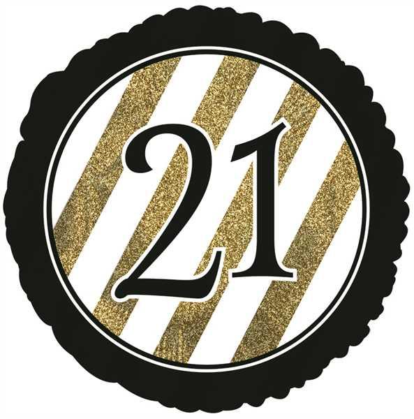 "CTI Folienballon 18"" Zahl 21 Schwarz & Gold Glitzer"