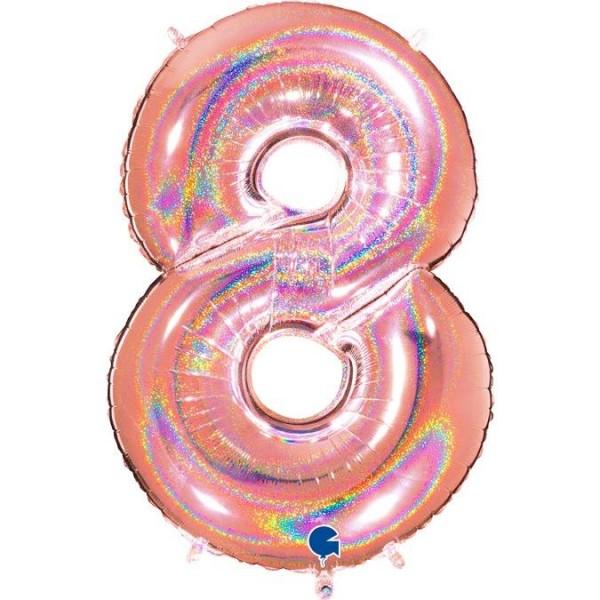 "Grabo Folienballon Zahl 8 Glitter Rose Gold Holo 40"""