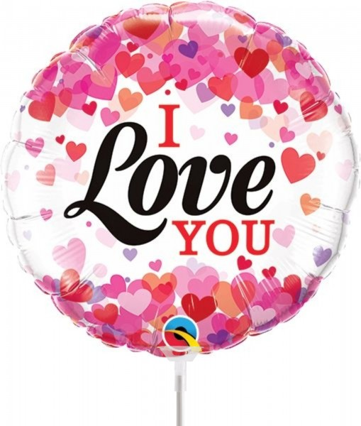 """Qualatex Folienballon I Love You Confetti Hearts 23cm/9"""" luftgefüllt inkl. Stab"""
