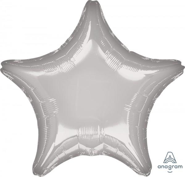 "Anagram Folienballon Stern Metallic Silver 50cm/20"""