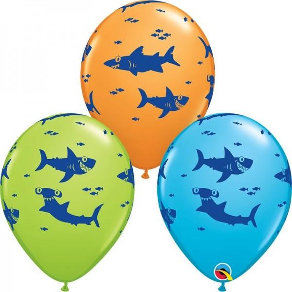 "Qualatex Latexballon Fun Sharks! Assorted Green, Orange, Blue 28cm/11"" 25 Stück"