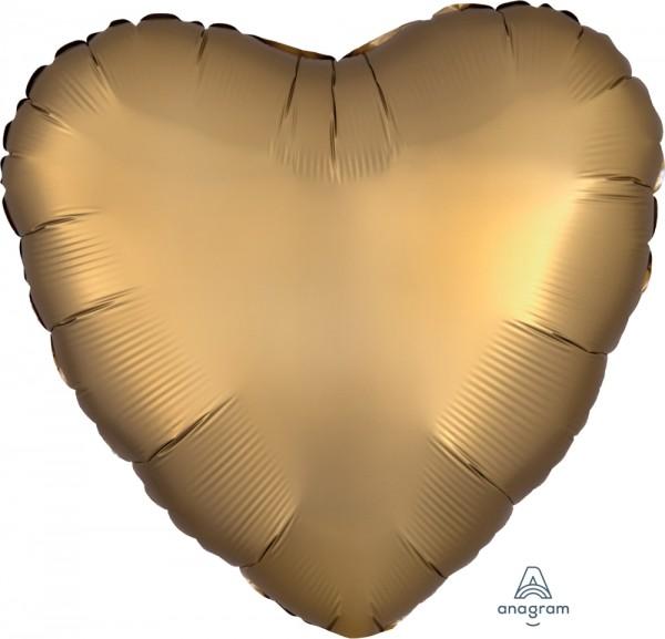 Anagram Folienballon Herz 45cm Durchmesser Satin Gold