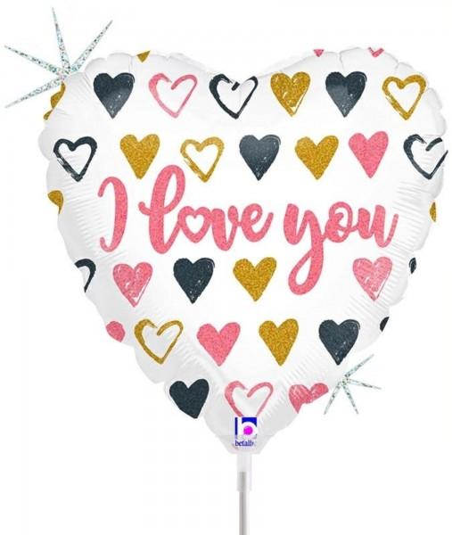 "Betallic Folienballon Rose Gold Heart I Love You Glitter Holographic 23cm/9"" luftgefüllt inkl. Stab"