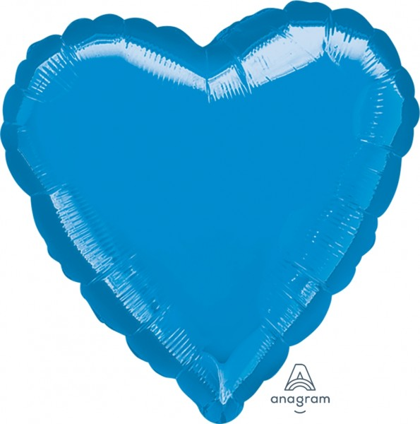 Anagram Folienballon Jumbo Herz Metallic Blue 80cm/32""