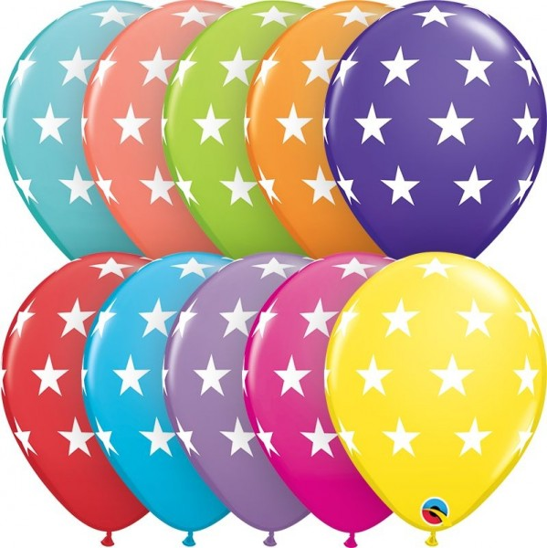 "Qualatex Latexballon Big Stars Sortiment 28cm/11"" 6 Stück"
