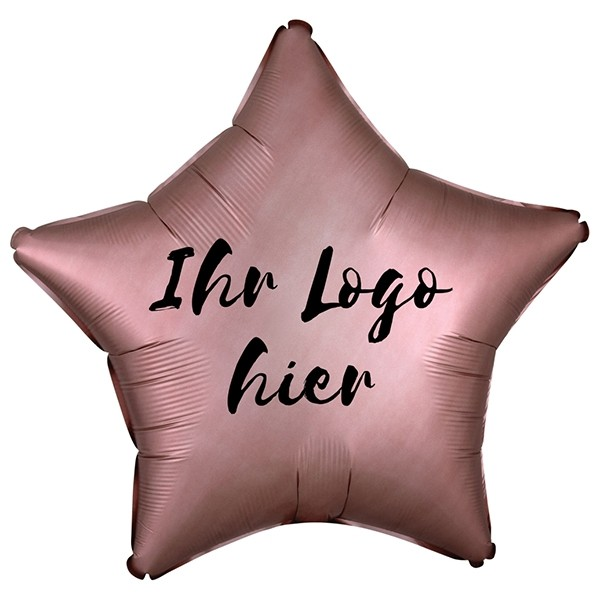 "Folien-Werbeballon Stern Satin Luxe Rose Copper 50cm/20"" 1-Seitig bedruckt"