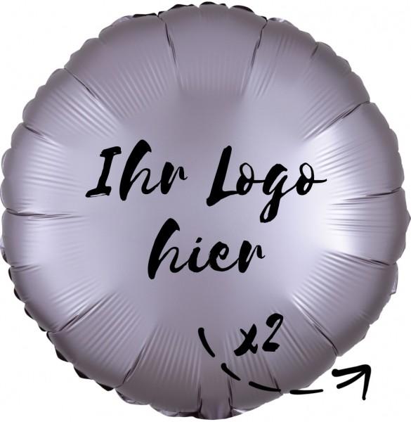 """Folien-Werbeballon Rund Satin Luxe Greige 45cm/18"""" 2-Seitig bedruckt"""
