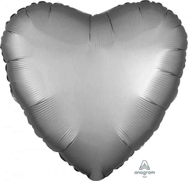 Anagram Folienballon Herz 45cm Durchmesser Satin Platingrau