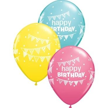 "Qualatex Latexballon Birthday Pennants & Dots Assorted Caribbean Blue, Rose & Yellow 28cm/11"" 25 Stü"