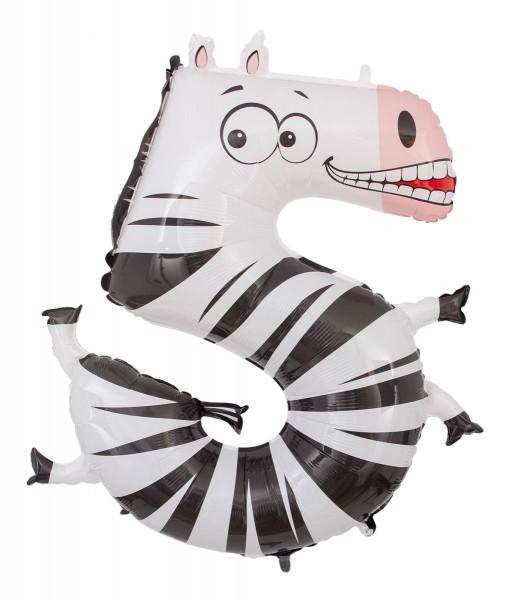 "Grabo Folienballon Zahl 5 Animaloon Zebra 100cm/40"""