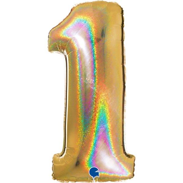 "Grabo Folienballon Zahl 1 Glitter Holographic Gold 100cm/40"""