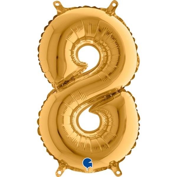 "Grabo Folienballon Zahl 8 Gold 36cm/14"""