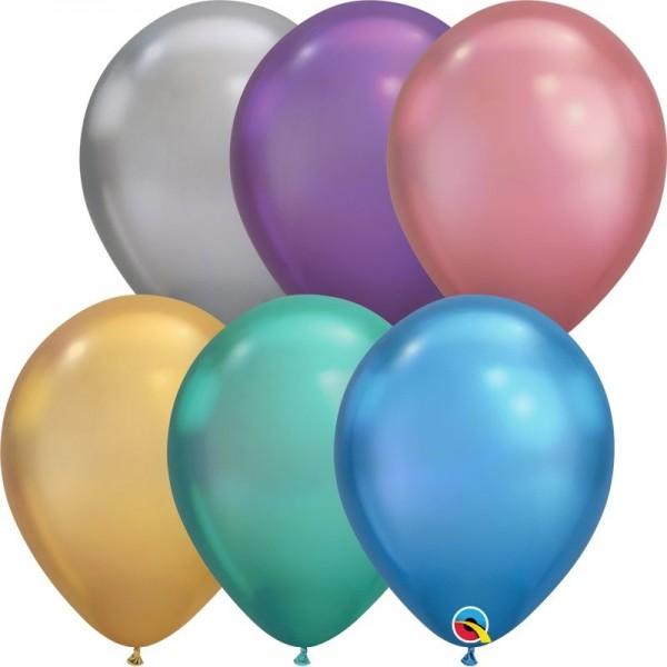 "Qualatex Latexballon Chrome Assortment 28cm/11"" 100 Stück"