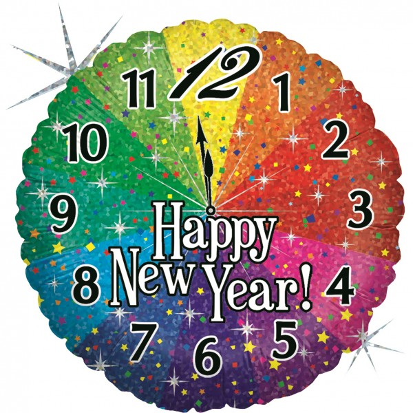 Betallic Folienballon Happy New Year Countdown Holo 45cm/18""