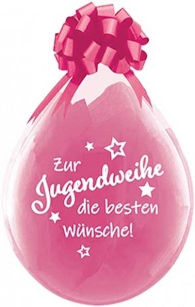 """Qualatex Verpackungsballon Zur Jugendweihe die besten Wünsche Diamond Clear 45cm/18"""" 25 Stück"""