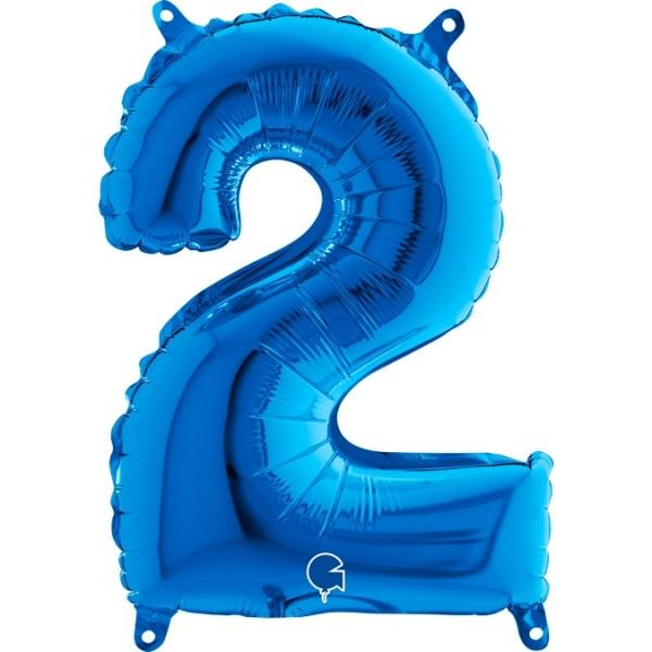 "Grabo Folienballon Zahl 2 Blue 36cm/14"""