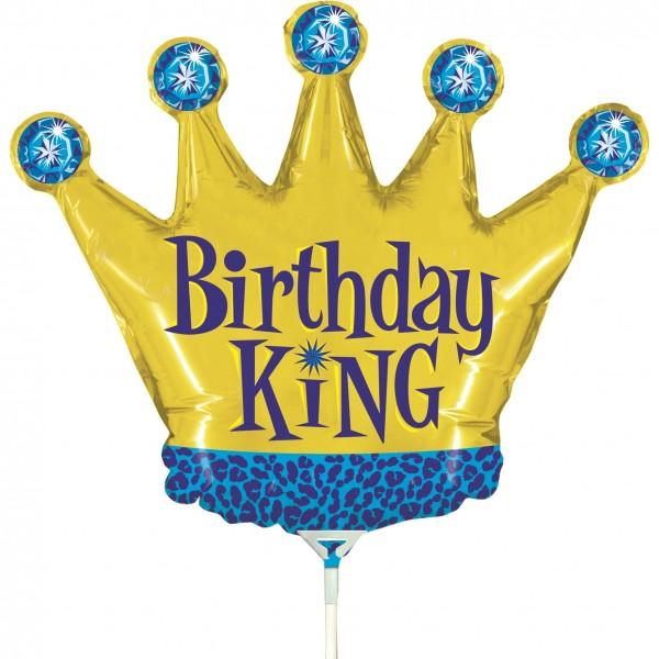 "Betallic Folienballon Birthday King Mini 35cm/14"" luftgefüllt inkl. Stab"