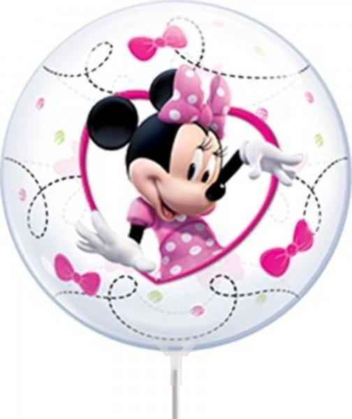 """Qualatex Air Bubbles Minnie Mouse 30cm/12"""" luftgefüllt inkl. Stab"""