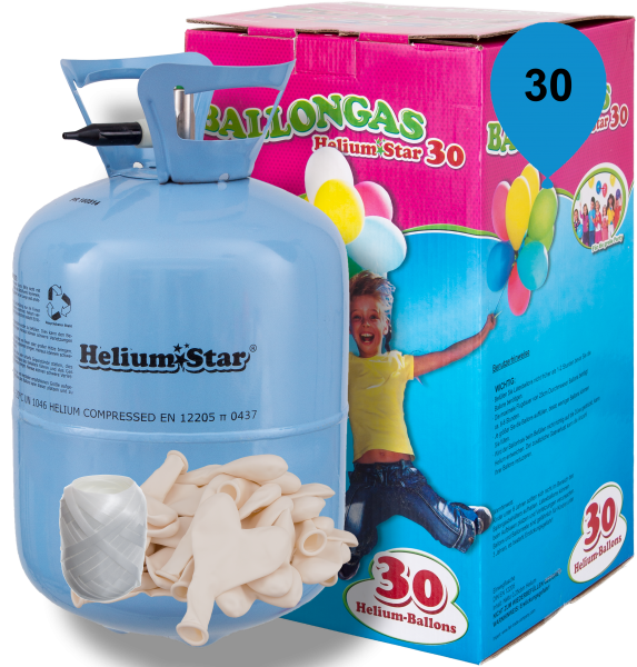 HeliumStar Ballongas 30er Einweggasflasche mit 30 weißen Herzballons & Bandknäuel