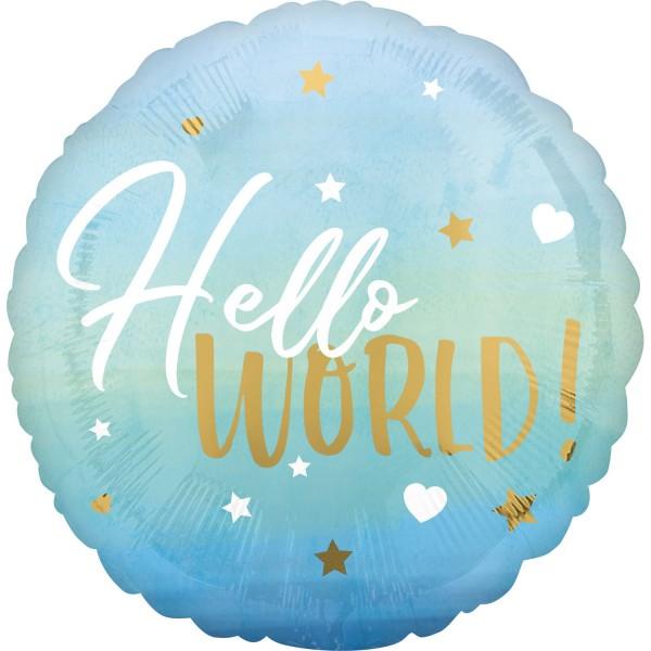 "Anagram Folienballon Rund ""Hello World"" blue 45cm/18"""