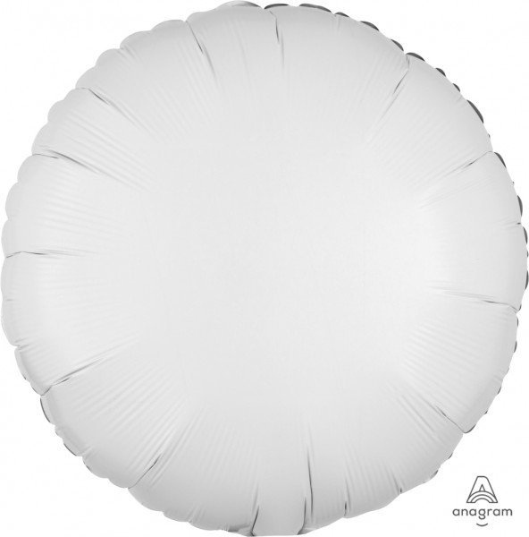 """Anagram Folienballon Rund Metallic White 45cm/18"""""""
