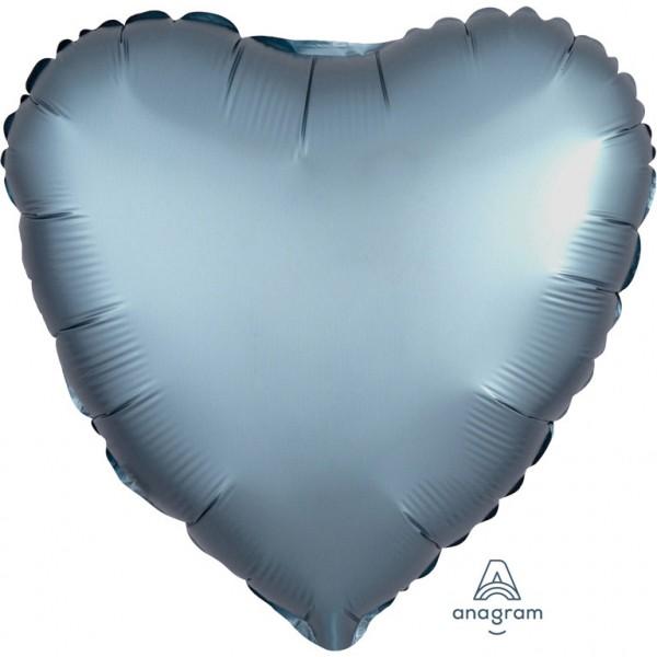 "Anagram Folienballon Herz Satin Luxe Steel Blue 45cm/18"""