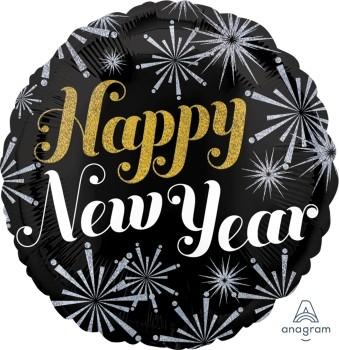 "Anagram Folienballon Rund 70cm Durchmesser ""Happy New Year"" Pizazz Holo"