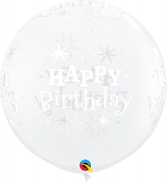 Qualatex Latexballon Birthday Sparkle-A-Round Diamand Clear 90cm/3' 2 Stück