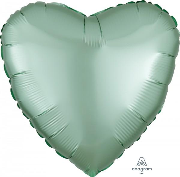 "Anagram Folienballon Herz Satin Luxe Pastel Mint Green 45cm/18"""
