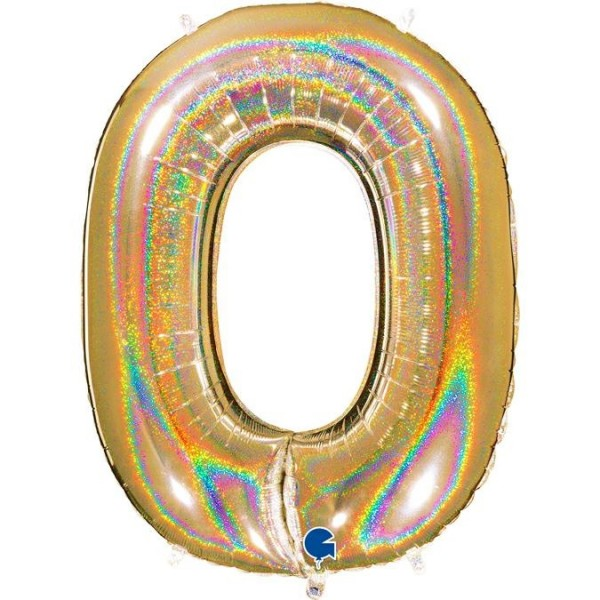 "Grabo Folienballon Zahl 0 Glitter Holographic Gold 100cm/40"""