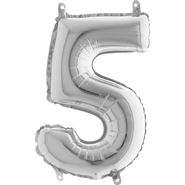 "Grabo Folienballon Mini Silber 36cm/14"" Zahl 5"